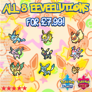 All 8 6iv Shiny Eeveelutions Eevee Evolutions Pokemon Sword Shield Ditto Ebay Well lets look at some pokemon patterns and anime tropes and try! details about all 8 6iv shiny eeveelutions eevee evolutions pokemon sword shield ditto