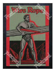 Historic-strongman-Wire-Rope-1900s-Advertising-Postcard