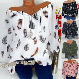 Womens-Loose-V-Neck-Blouse-Tops-Sexy-Off-Shoulder-T-Shirt-UK-Size-6-18