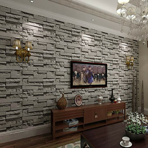 3D Faux Brick Wallpaper Roll Rustic Vintage Vinyl Old Stone Wall Paper Dark Grey