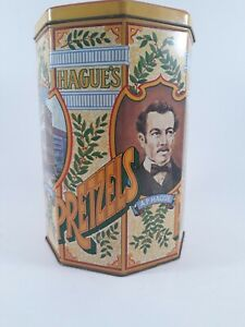 """Vintage"" Hagues Pretzels and Snack Tin Container Can Collectible (8.5"" x 5.5"")"