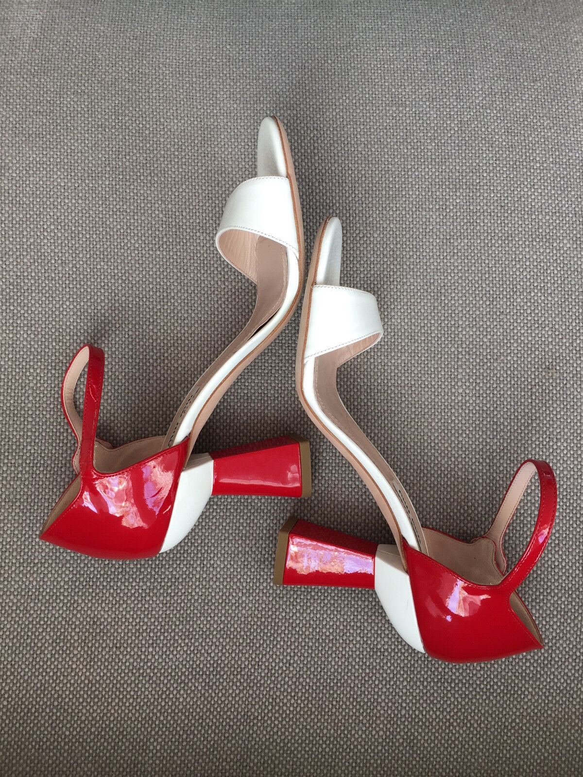 MIU MIU LACKLEDER SANDALE HIGH HEEL WEISS - ROT 36,5