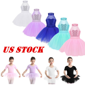US-Kids-Girls-Ballet-Dance-Dress-Ballerina-Tutu-Skirts-Fancy-Costume-Gym-Leotard