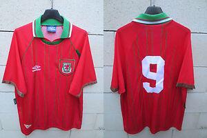 VINTAGE-Maillot-PAYS-DE-GALLES-WALES-shirt-UMBRO-1994-Ian-RUSH-n-9-jersey-XL