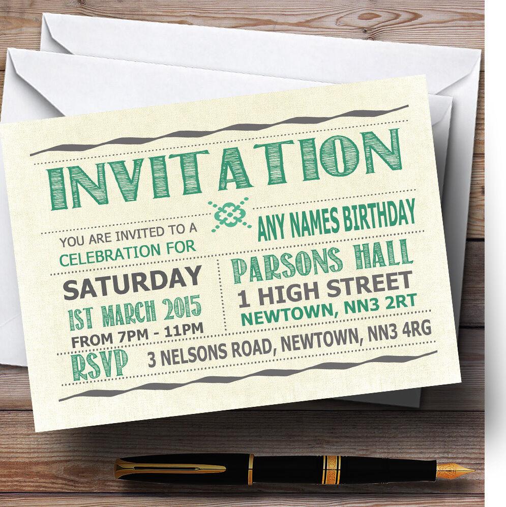 Typographie Typographie Typographie mot art Aqua Personnalisé Fête D'Anniversaire invitations b76d8f