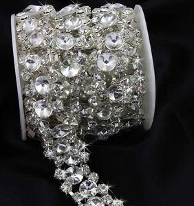 Luxury-Shinning-Crystal-Glass-Rhinestone-Brass-Silver-Tone-Chain-Bridal-Trim