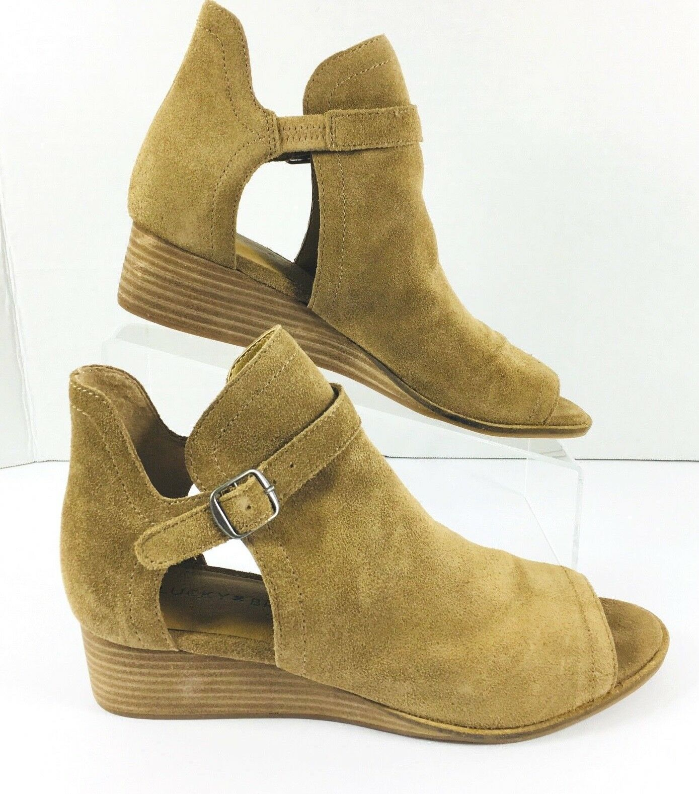 New Lucky Brand damen Sz 7 Reemas Leather Suede Peep Toe Wedge Stiefelie schuhe