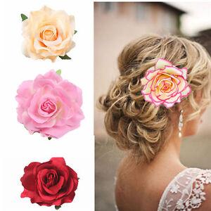 Big-Blooming-Rose-Flower-Wedding-Bridal-Hair-Clip-headpiece-Brooch-Pin-EB