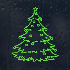 Lime Green Merry Christmas Tree Car Decal Vinyl Sticker