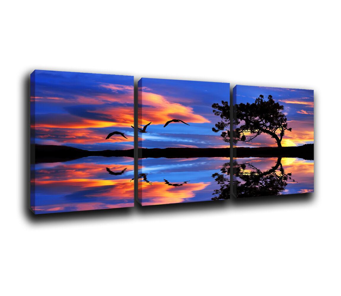 Seascape  sunset Landscape Canvas Wall Art Print Treble Box frames Picture A