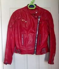 Lewis Leathers  aviakit Ladies Red Monza Vintage Motorcycle Biker Jacket Size 12