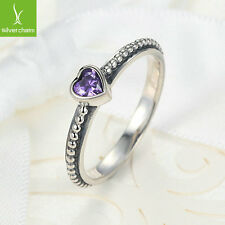 Purple Style Silver Love Heart Stackable Finger Ring For Christmas Day Gifts