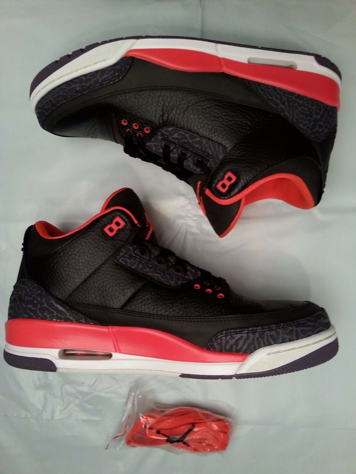 Nike Air Jordan Retro 3 III Size 11.5 Crimson Red Black Purple. 136064-005.