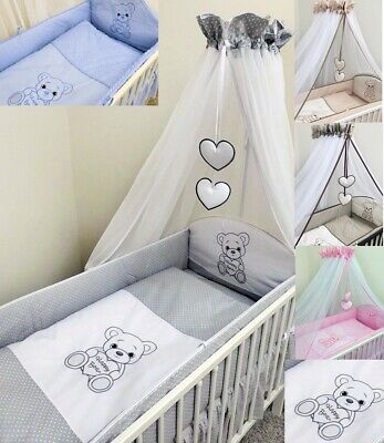 100% QualitäT Bettset Baby 8-9 Tlg Bettwäsche Nestchen Himmelstange 120x60 Happy Bear Knitterfestigkeit