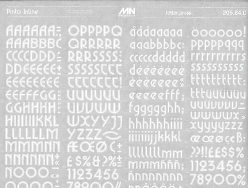 #299 Fonts MECANORMA Transfers Lettering A3 PINTO INLINE WHITE 17mm