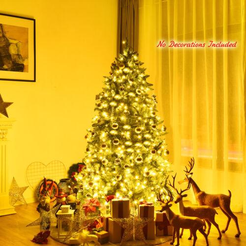 6ft Pre-lit PVC Christmas Fir Tree Hinged 8 Flash Modes w// 650 LED Light