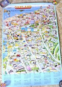 California Map Cartoon.Vintage Lovely Cartoon Map Of Oakland California Businesses 1993 Ebay