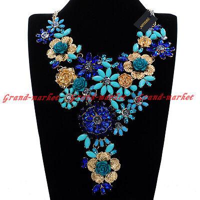 Fashion Gold Chain Blue Crystal Resin Flower Statement Pendant Bib Necklace US