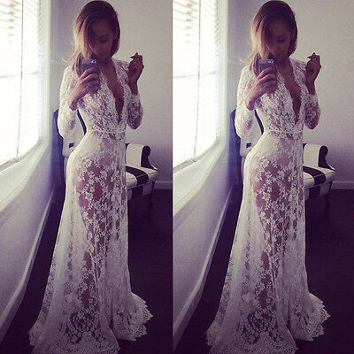 Women Sexy Sheer Lace Floor Length Clubwear Cocktail Party Wedding Long Dress