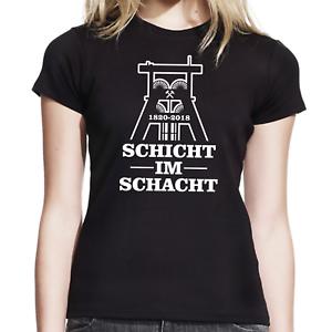 Schicht-im-Schacht-Zeche-Bergbau-Kumpel-Foerderturm-Bottrop-Damen-Girlie-T-Shirt