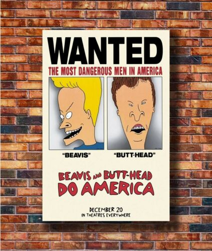 Costom Poster BEAVIS AND BUTTHEAD DO AMERICA MOVI 1 Sided 12x18 27x40 Art Silk