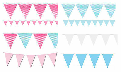 Bunting Blue Pink Baby Shower Boy Girl Christening Flags Party Birthday Colours