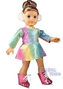 Skating-Winter-Outfit-Pink-Skates-made-for-18-034-American-Girl-Doll-Clothes