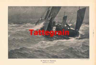 100% Wahr 926 Tattegrain Kampf Mit Netzräuber Segelschiff Druck 1906 !! Modische Und Attraktive Pakete