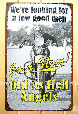 Old as Hell Angels TIN SIGN funny metal poster bar wall decor vtg motorcycle OHW
