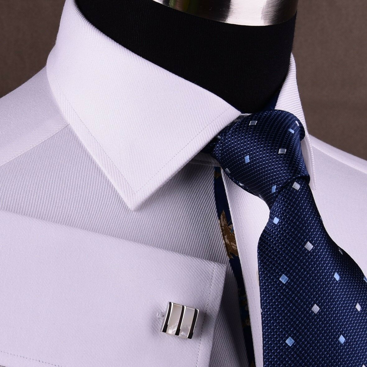 White Twill Formal Business Dress Shirt Floral Classic French Double Cuff Spread