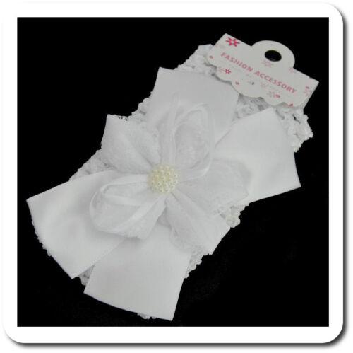 Haarband Stirnband Baby Taufe Hochzeit Kopfband Satin Schleife  Mädchen Perlen