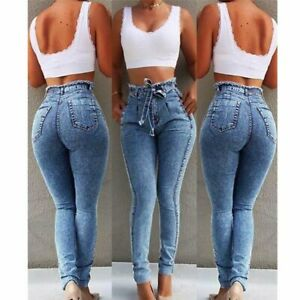 Jeans-denim-stretch-skinny-trousers-long-slim-pencil-Womens-pants-high-waist