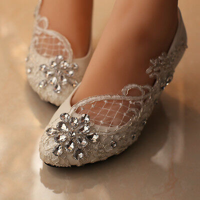 Lace White Ivory Crystal Wedding Shoes Bridal Flats Low High Heel Pump Size 5 12 Ebay