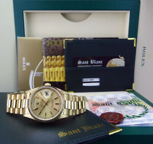 ROLEX-18kt-Gold-Day-Date-PRESIDENT-Champagne-Stick-18038-SANT-BLANC