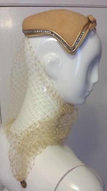 MELO, Wool Felt, Camel Brown, Skull Cap Hat w/Rhinestones & Wedding Tulle (S)