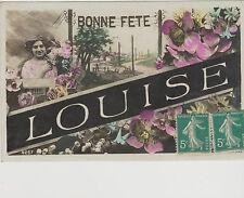 CARTE PHOTO  POUR FETER LOUISE -JEUNE FILLE - FLEURS- AN 1915/SEPIA colorisé