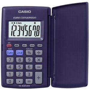 CASIO-8-DIGIT-LC-DISPLAY-CALCULATOR-EURO-CONVERSION-POCKET-Compact-W-CASE-HL820