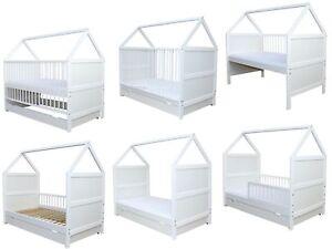Kinderbett Juniorbett Bett 160x70 cm Schaumstoffmatratze umbaubar weiss