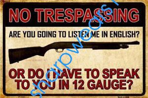Metal-Tin-Sign-no-trespassing-warning-Decor-Pub-Bar-Home-Vintage-Retro