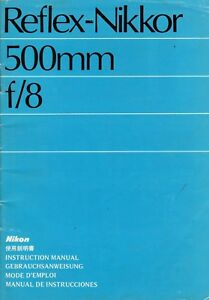 Nikon-Reflex-Nikkor-500mm-f-8-Original-Instruction-Book-Nippon-Kogaku-Japan