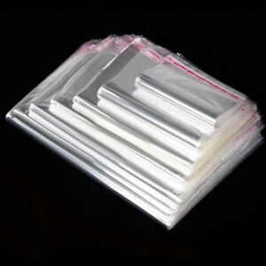 Cello Bags Clear Cellophane Garment Plastic Packing Adhesive Peel /& Seal 18x24cm
