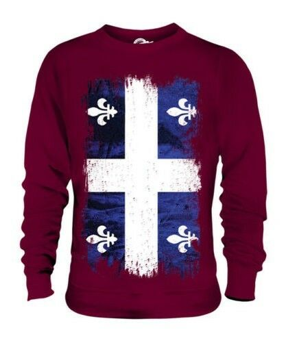 Quebec Grunge Flag Unisex Pullover Top Geschenk T-Shirt Kleidung Trikot