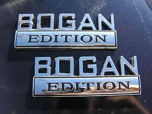 BOGAN-EDITION-PAIR-CAR-FENDER-BADGES-Chrome-Metal-Emblem-NEW-suit-COMMODORE