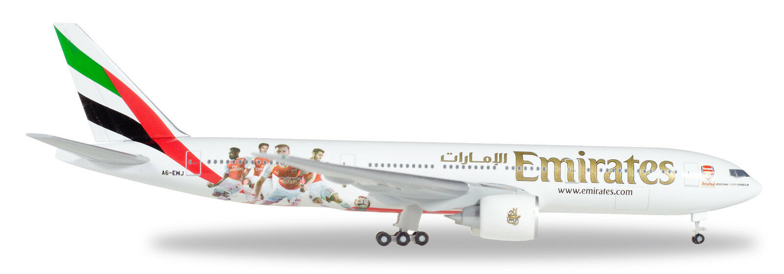 Herpa 529235 boeing 777-200lr emirates reg.a6-ewj 1  500.