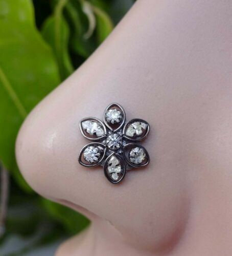 Onyx Diamond Nose Stud Sterling Silver Nose Stud Flower Nose Stud Gift For Her