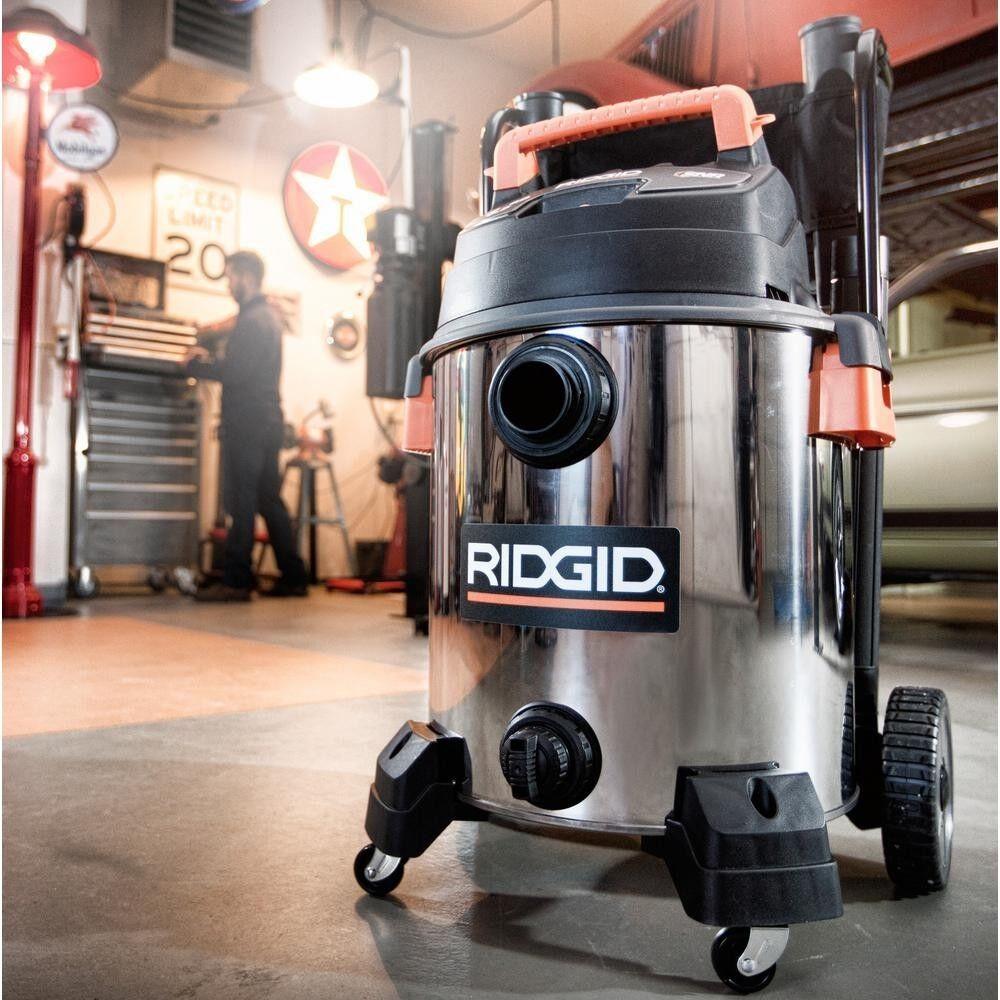 RIDGID Stainless Steel Wet Dry Shop Vacuum 16 Gallon 6.5 peak HP Wet Dry Vac