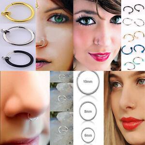 2x Punk Heart Clip On Fake Nose Lip Hoop Rings Earrings Body Piercing Jewelry
