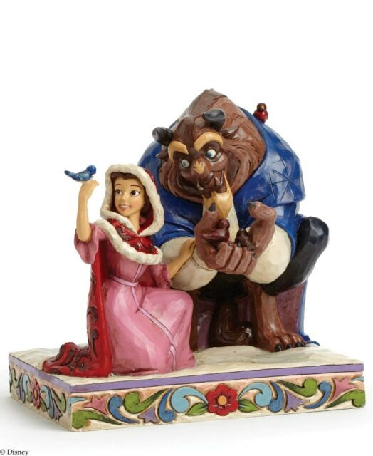 Disney Traditions  Something There Belle and Beast Winter Figurine in BOX  23182