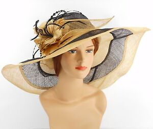 New Church Kentucky Derby Wedding Party Sinamay Wide Brim Dress Hat 3033 Black B