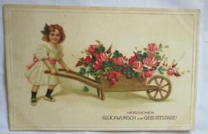 034-Geburtstag-Blumen-Kinder-Rosen-Schubkarre-034-1914-Golddruck